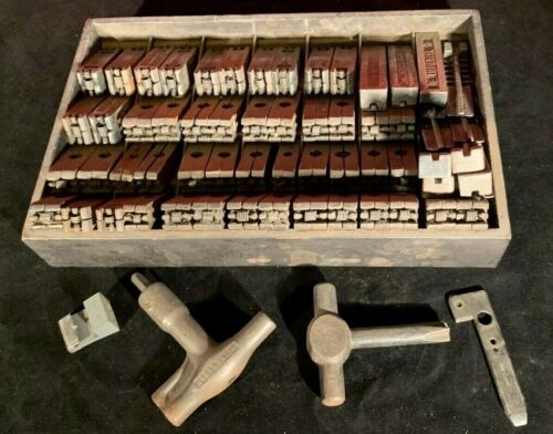 Antique 1878-1890 Wickersham Type Set Letter Press Quions, Wedges & Keys