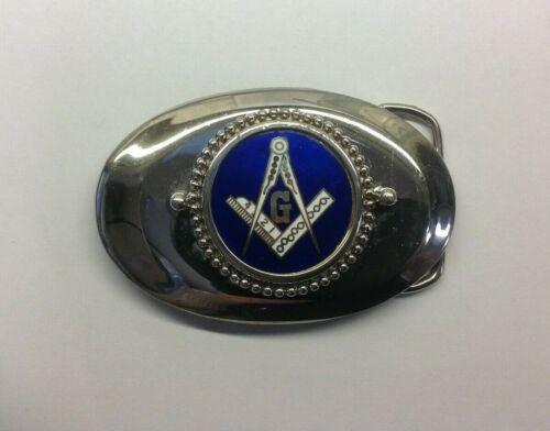 Free Mason Masonic Symbol G Blue and Silver Tone Belt Buckle