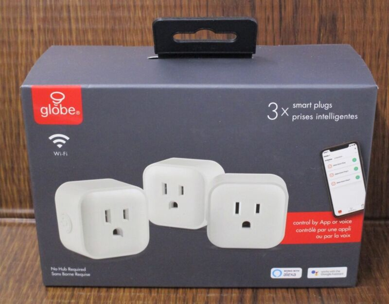 GLOBE 50201 Smart Plugs Lot of 3 WiFi no hub required NEW SEALED