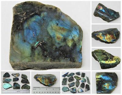 "Natural Raw Labradorite Slab Polished Face 2 - 4"" Display Specimen Rough Crystal"