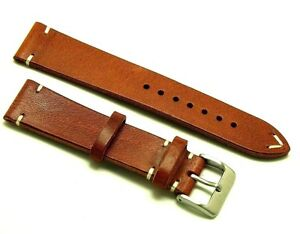 20mm Brown/White Leather Vintage Classic Style Watch Band Handmade Silver Buckle