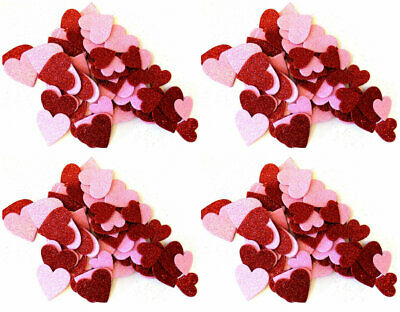 60 Foam Heart Glitter Table Scatter Valentine's Crafts Asst. Sizes Colors~ Qty -