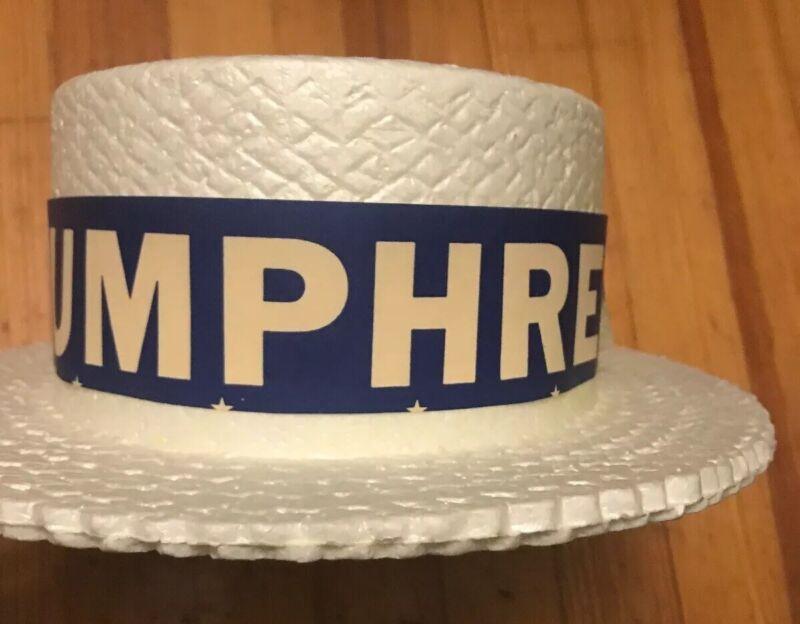 Vintage 1968 Democratic Hat Styrofoam Skimmer HUMPHREY MUSKIE J Hats