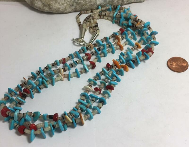 Gorgeous multi-strands pen shell heishi/ turquoise/coral necklace/(t318-w1.5)
