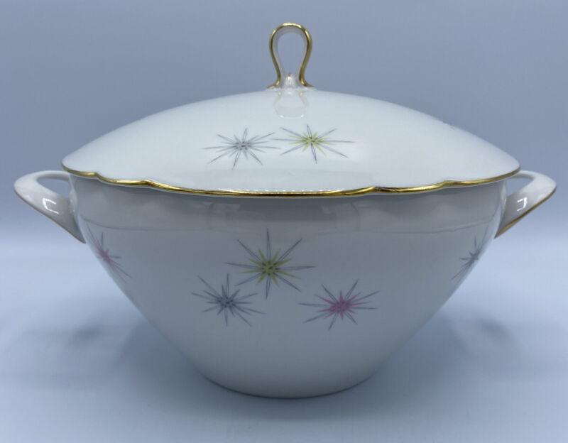 Mid Century Covered Serving Bowl Seltmann Weider Bavaria- Starburst Sunburst