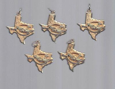 """1964 LBJ JOHNSON """"LADY BIRD"""" ON THE STATE OF TEXAS 1"""" METAL CHARMS - 5 COUNT"""