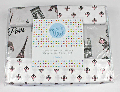 Max 'n' Mitch Paris Pug Dog Eiffel Tower 4pc Twin Sheet Set Reversible New Kids