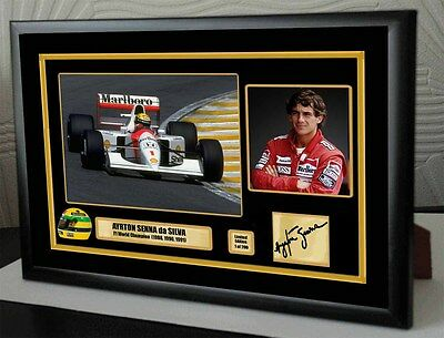 "Ayrton Senna F1 McLaren World Champion Framed Canvas Signed Print ""Great Gift"""