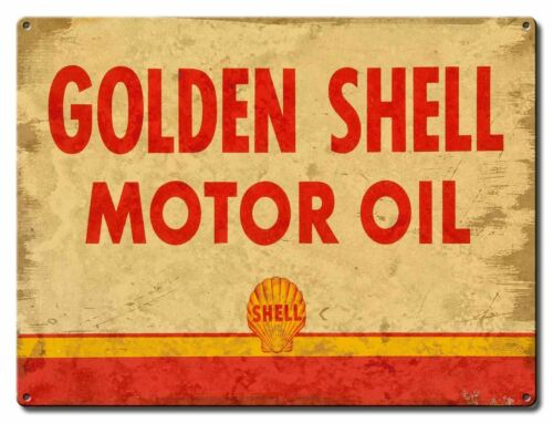 (12) GOLDEN SHELL MOTOR OIL HEAVY DUTY USA MADE METAL GAS STATION ADV SIGN