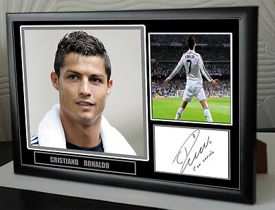 "Cristiano Ronaldo Real Madrid Framed Canvas Print Signed  ""Great  Gift"""