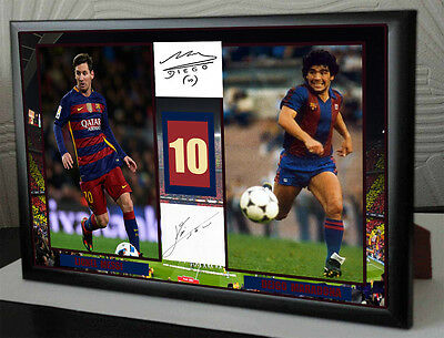 Lionel Messi & Diego Maradona Barcelona Framed Canvas Tribute Signed Gift