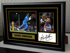 Sachin Tendulkar Cricket Framed Canvas Tribute Print Signed.