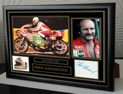 """Mike Hailwood Motor Cycle legend Framed Canvas Signed """"Great Gift"""""""