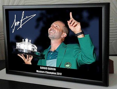 """Sergio Garcia Masters 2017 Golf Framed Canvas Tribute Signed """"Great Gift"""" # 2"""