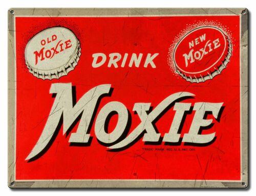 (12) DRINK MOXIE COLA SODA POP HEAVY DUTY USA MADE METAL SOFT DRINK ADV SIGN