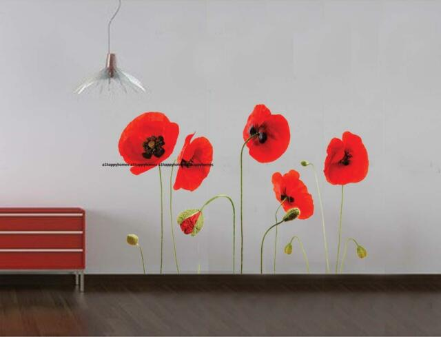 Large RED POPPY Flowers Wall Stickers Art Decal Removable Transparent LOUNGE Bed