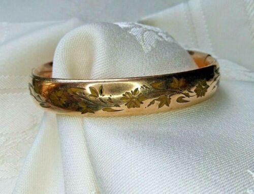 Antique Victorian Foster & Bailey F&B Pat Gold Filled Bracelet Etched Floral
