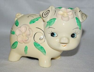 Adorable Vintage Child Piggy Floral  Bank Marked Fred Roberts  #k