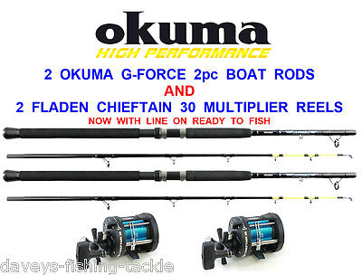 2 OKUMA 7ft BOAT RODS+FLADEN CHIEFTAIN 30 MULTIPLIER REELS+30lb LINE SEA FISHING