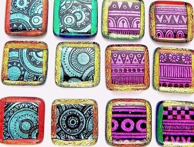 set 12 SQUARE DICHROIC FUSED GLASS CAB PENDANT KNOBS (K14) Chris Stell ETCHED
