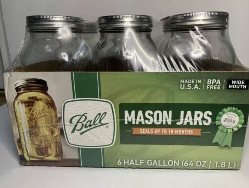 Ball Wide Mouth Canning Mason Jars Half Gallon Clear Glass J