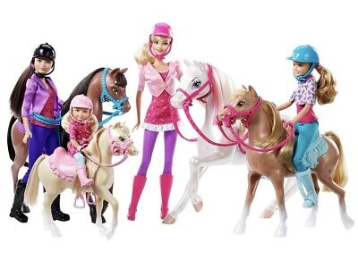New Barbie And Her Sisters In A Pony Tale Horse Playset With 4 Dolls and Horses