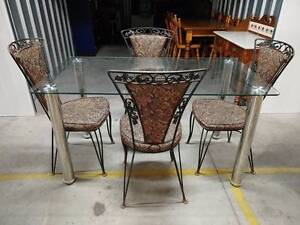 5 Piece Outdoor Setting 4 Vintage Chairs & Glass Table Klemzig Port Adelaide Area Preview