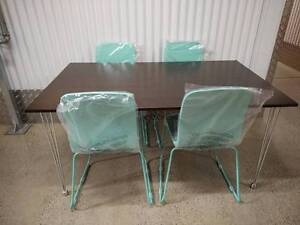 BRAND NEW 5 Piece Dining Suite Retro Style Table 4 Teal Chairs Klemzig Port Adelaide Area Preview
