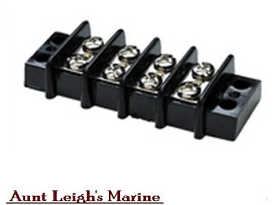 SeaChoice 4 Gang Terminal Junction Block Nickel Plated Brass Screw Contact 13561
