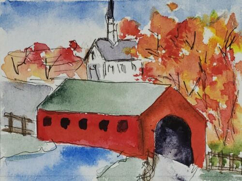 Original ACEO Or ATC Watercolor Miniature Painting - Covered Bridge - $4.50