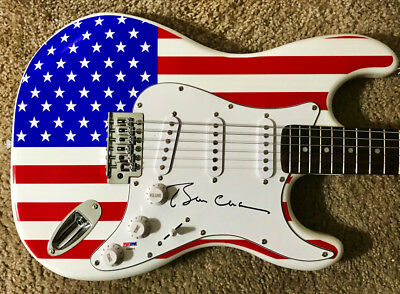 President BILL CLINTON Signed American Flag Electric Guitar (PSA/DNA)