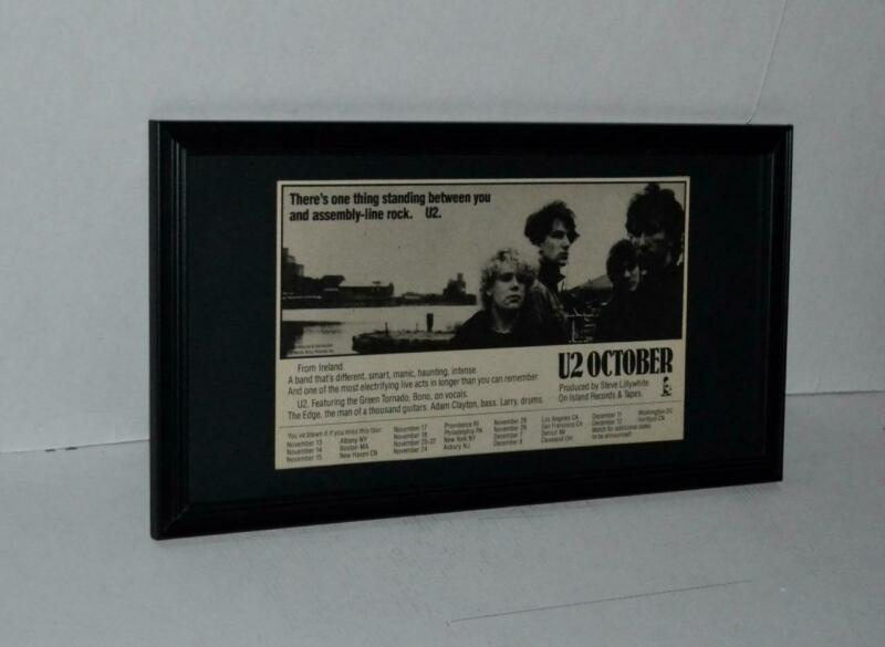 U2 1981 RARE EARLY CLUB DATES INTRODUCING U2 FROM IRELAND CONCERTS FRAMED AD