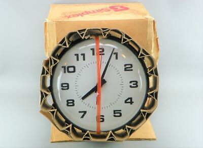 "Vintage SIMPLEX Electric 13"" Industrial Office School Metal Glass Wall Clock NEW"