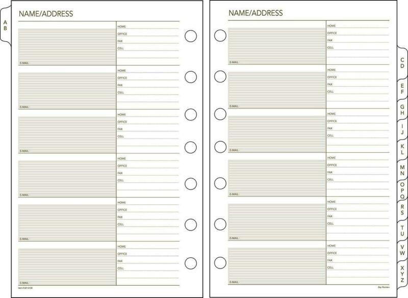 Day Runner A–Z Tabs, Undated Planner Telephone & Address 5.5″ x 8.5″ White Cream