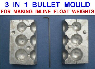 3 IN 1 IN LINE BALL BULLET MOULD SEA GAME COARSE LEAD WEIGHT PIKE FLOAT FISHING