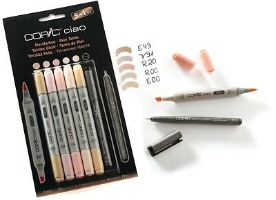 COPIC CIAO Marker 5+1 Set 22075552 HAUTFARBEN Multiliner Markerset Einsteiger