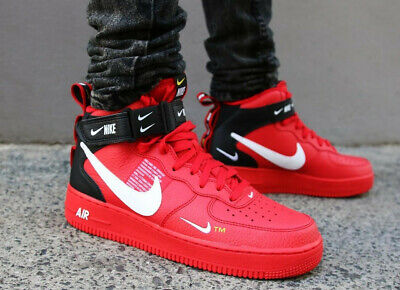NIKE AIR FORCE 1 AF1 MID 07 LV8 UTILITY TRAINERS UK 14 EU 49.5 RED 804609605