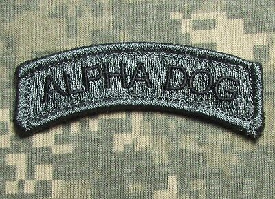 ALPHA DOG TAB TYPE A ARMY USA MILITARY ISAF ACU DARK HOOK & LOOP MORALE PATCH
