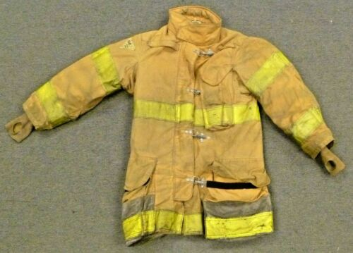 36x35 Janesville Brown Yellow Tape Firefighter Turnout Jacket Coat Bunker J726