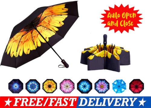 Automatic Inverted Windproof Women Umbrella Sun Rain Travel Compact UV Blocking