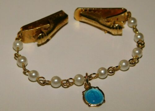 Vintage Religious Sweater Clip Blue Enamel Miraculous Mary Medal w/ Pearls J118