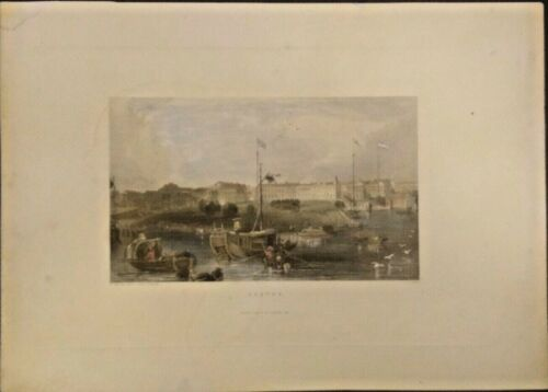 EXTREMELY RARE LITHOGRAPH OF CANTON GUANGZHOU CHINA 1836-1840 GENUINE FRAMEABLE