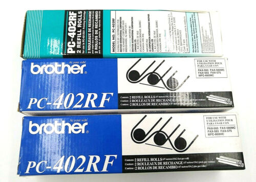 Genuine Brother PC-402RF Fax Refill Rolls 2 1/2 Pack Sealed Rolls