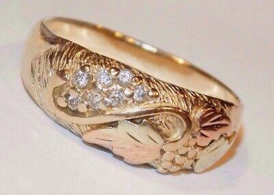 Black Hills Diamond Bands - Black Hills Gold 10 kt 12 kt 7 Diamond Ladies Leaves Band Ring Size 6