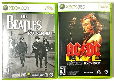 TWO Xbox 360 Rock Band Games AC/DC Live: Rock Band Track Pack & The Beatles for sale  Shipping to India