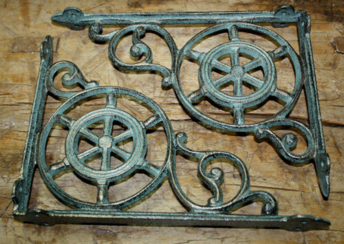 2 Cast Iron NAUTICAL SHIPSWHEEL Brackets Garden Brace Shelf Bracket PIRATES Ship