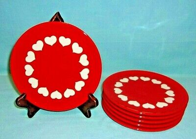 """Waechtersbach Vintage W. Germany 7-3/4"""" Red Salad Plate With White Hearts 6 PCS."""