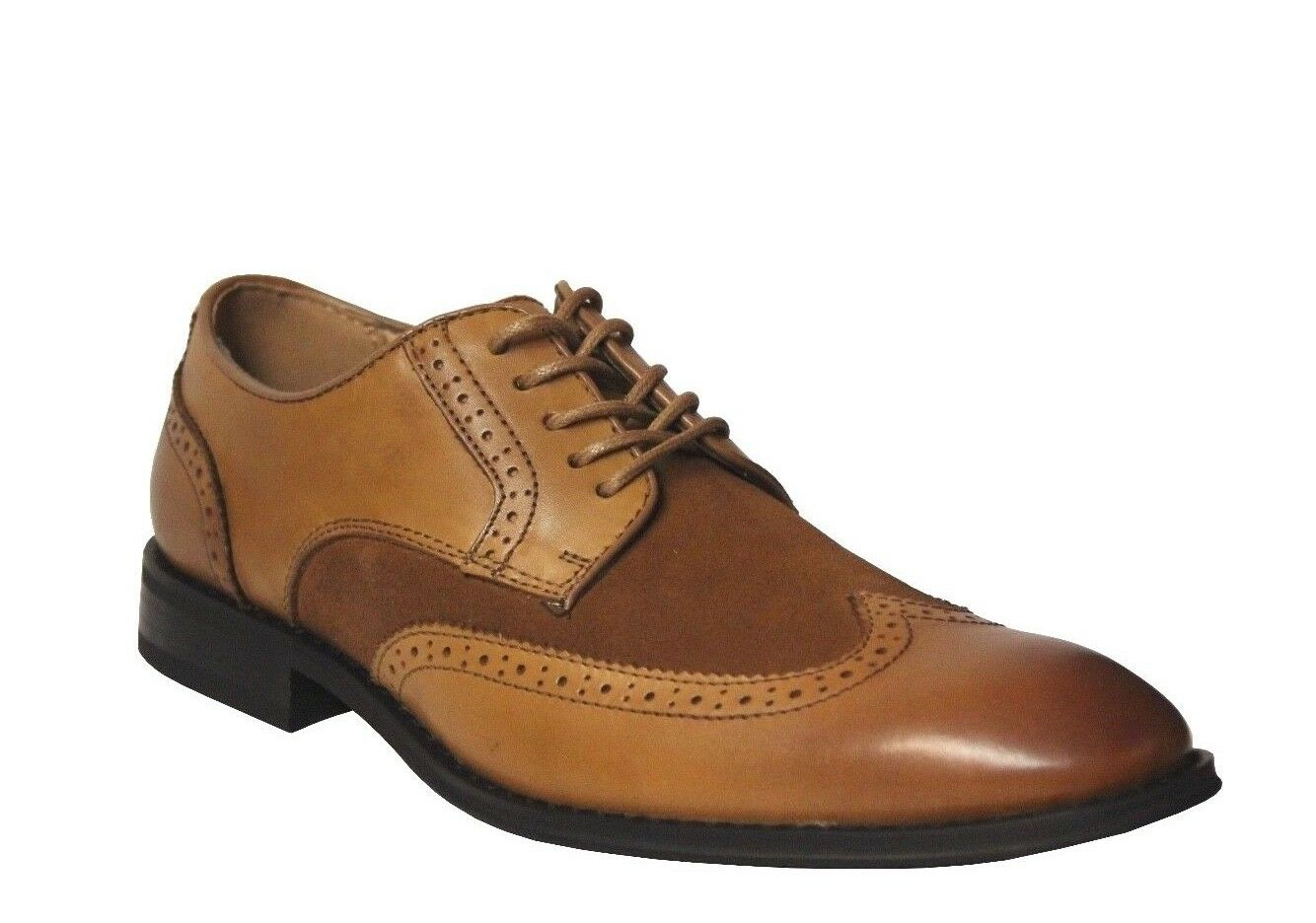 La Milano Men's Tan Leather/Suede Wing Tip Dress Shoes A11408