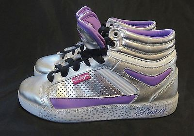 Pastry Sneakers High Tops Leather Size 6 Silver Purple White Lace Up Dance Cheer