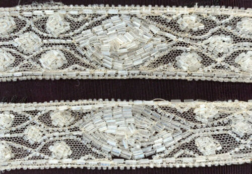 "antique beaded trims: 72"" continuous length white patterned trim on net backing"